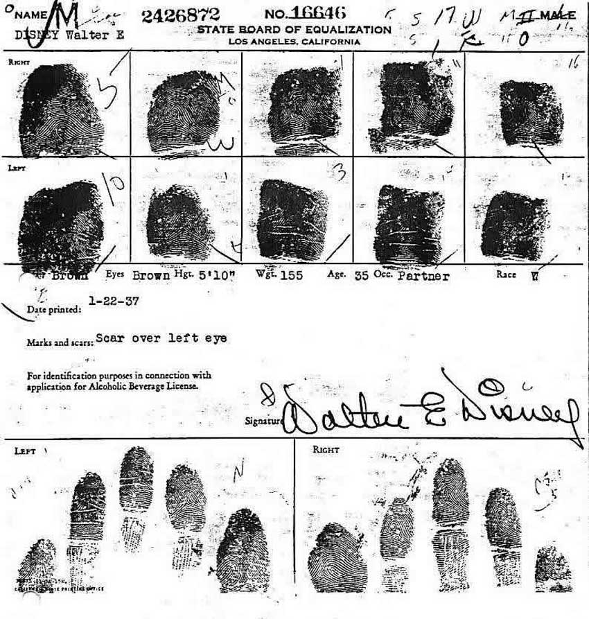 Walt Disney's fingerprints.