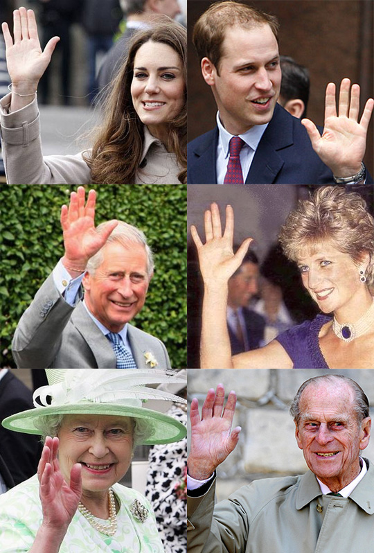 The Royal family of Wales: Prince William & Kate Middleton, Prince Charless & Diana, and Queen Elizabeth II & Prince Phillip.